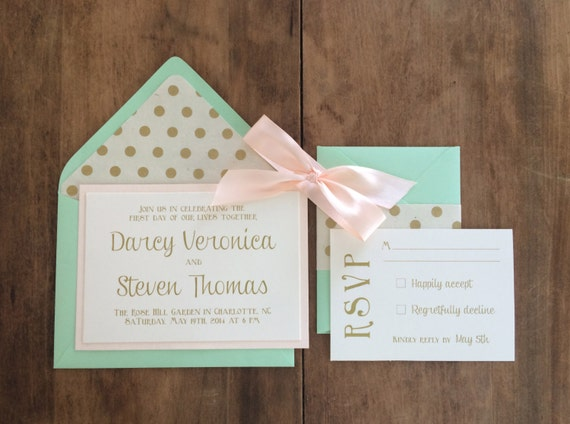 items similar to wedding invitations - mint and blush on etsy, Wedding invitations