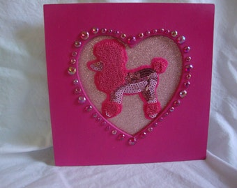 Handmade, Hand Painted Pink Poodle Picture frame