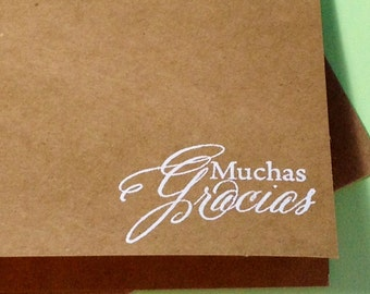 Muchas Gracias Thank You Rustic Card Set, Gracias Wedding Thank You, Baby Shower Thank You, Gracias Card Set