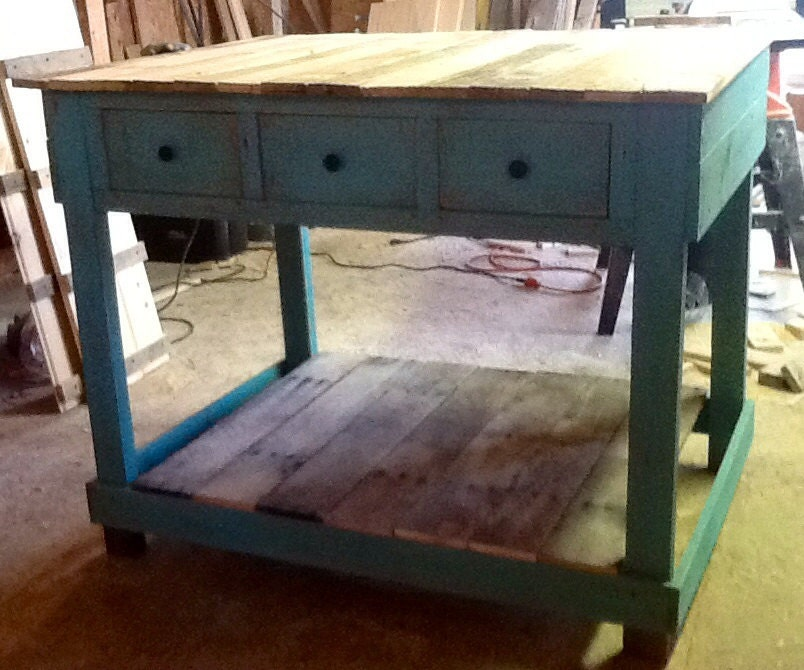 Kitchen Island Out Of Pallets: Rustic Pallet Kitchen Island With Drawers By SameAsNever