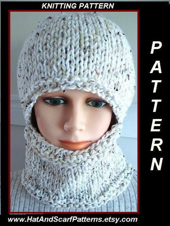 KNITTING PATTERN - hat, Easy Balaclava - or hat and cowl - Flat Knit - straig...