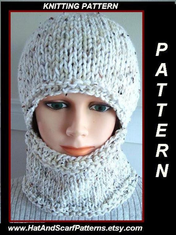 Balaclava Knitting Pattern 2 Needles : KNITTING PATTERN - hat, Easy Balaclava - or hat and cowl - Flat Knit - straig...