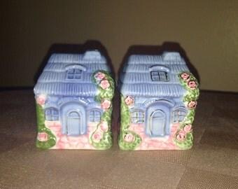 Blue House salt and pepper shaker set
