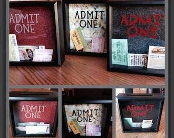 ADMIT ONE Ticket Stub Box, Ticket Holder Box, 8x8, Concert Tickets, Teen Gift, Couple Gift