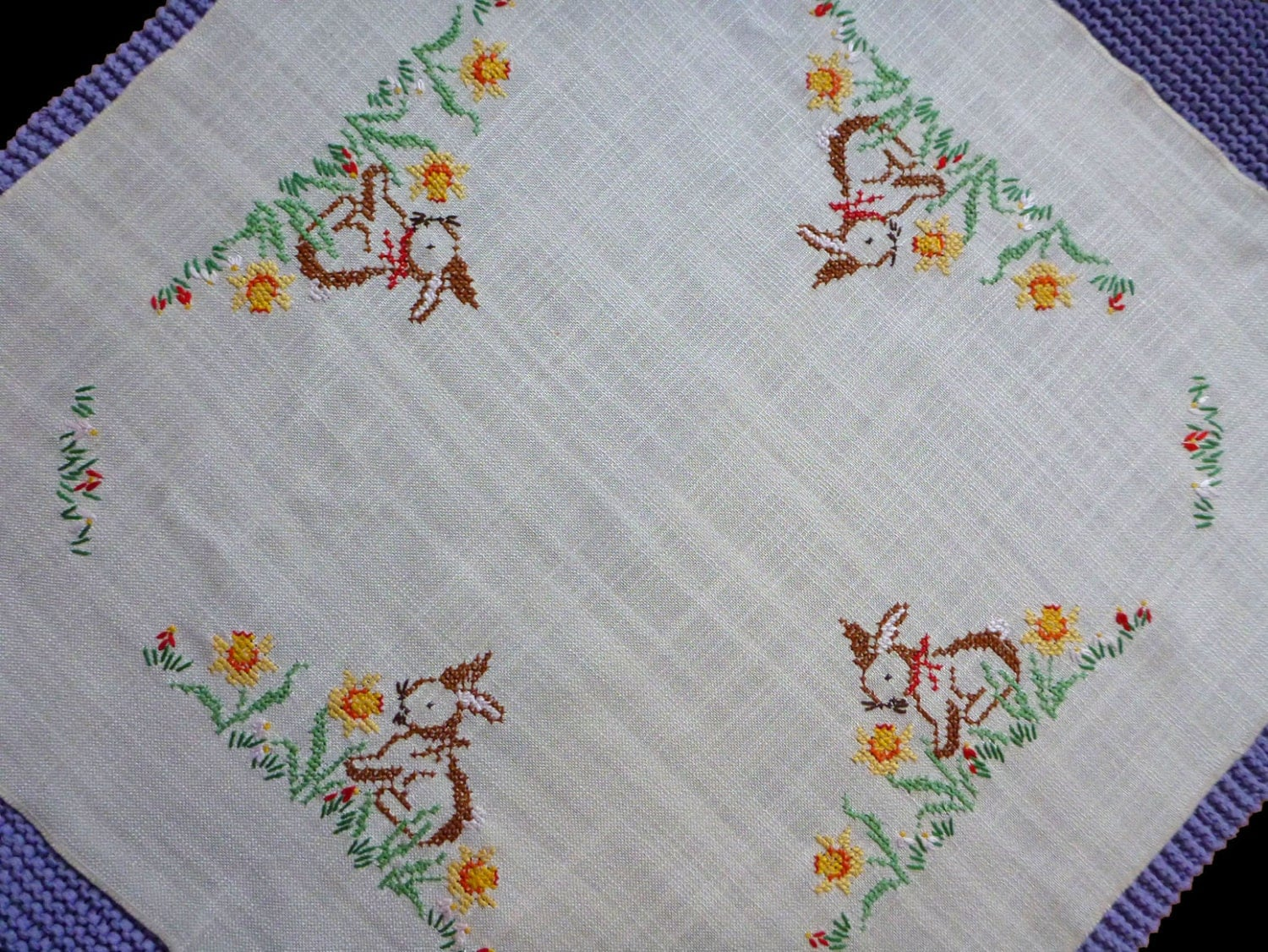 Vintage Square Tablecloth Easter Embroidery Hand Embroidered