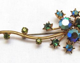 Austria Green Flower Pin AB Rhinestone Brooch