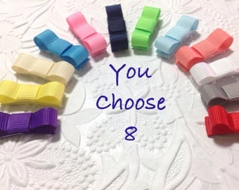 Baby snap clips hair bows -  8 pack snap clip - baby hair clips - baby hair bows - small hair bows - newborn hair clips - newborn hair bows