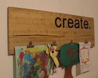 Children's Art Display, Solid Wood Home Decor, Art Wall, Industrial, Rustic
