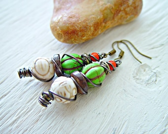 African Earrings - Hippe Earrings - Boho Earrings - Hippie Green Earrings - Boho Jewelry - African Jewelry - Tribal Earrings