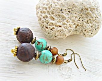 Boho Turquoise Earrings - African Earrings - African Jewelry - Turquoise Earrings - Boho Earrings - Boho Hippie Earrings - Hippie Earrings