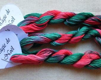 Magie de Noel, Hand Dyed Stranded Cotton, 8 metre skein, Fils a Soso