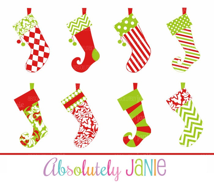 Christmas Stockings Clipart Whimsical Holiday by ...