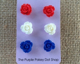 Red, White and Blue Rose Studs