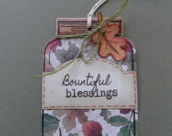 Bountiful Blessings, Fall Tag, Thanksgiving Tag, Fall Leaves, Gratitude, Gift Tag