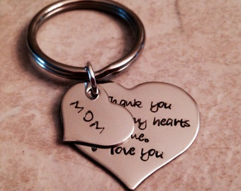 Personalized mothers keychain hearts first home