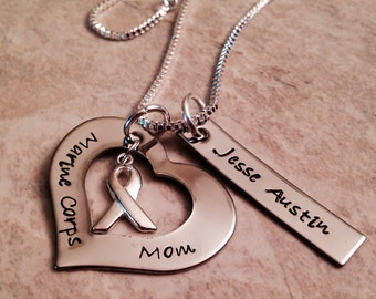 Marine corps mom necklace with personalization hand stamped army navy Air Force girlfriend sister friend