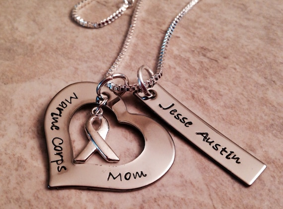 Marine corps mom necklace with personalization hand stamped army navy