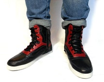 black red leather boots handmade Marapulai Sneaker boots High Tops shoes men women