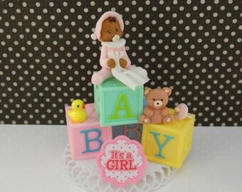 African American Baby Girl on Blocks Shower Cake Topper