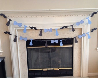 Mustache, Bow Tie and Tie Garland, Mustache, Tie, Bow Tie Banner, Stache Bash Theme, Little Man Theme, Baby Boy Shower Decorations