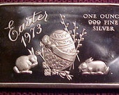 1oz .999 1973 Easter Fine Silver Bar for the Rabbit and Easter Lover in all of us      Coins Make Cents