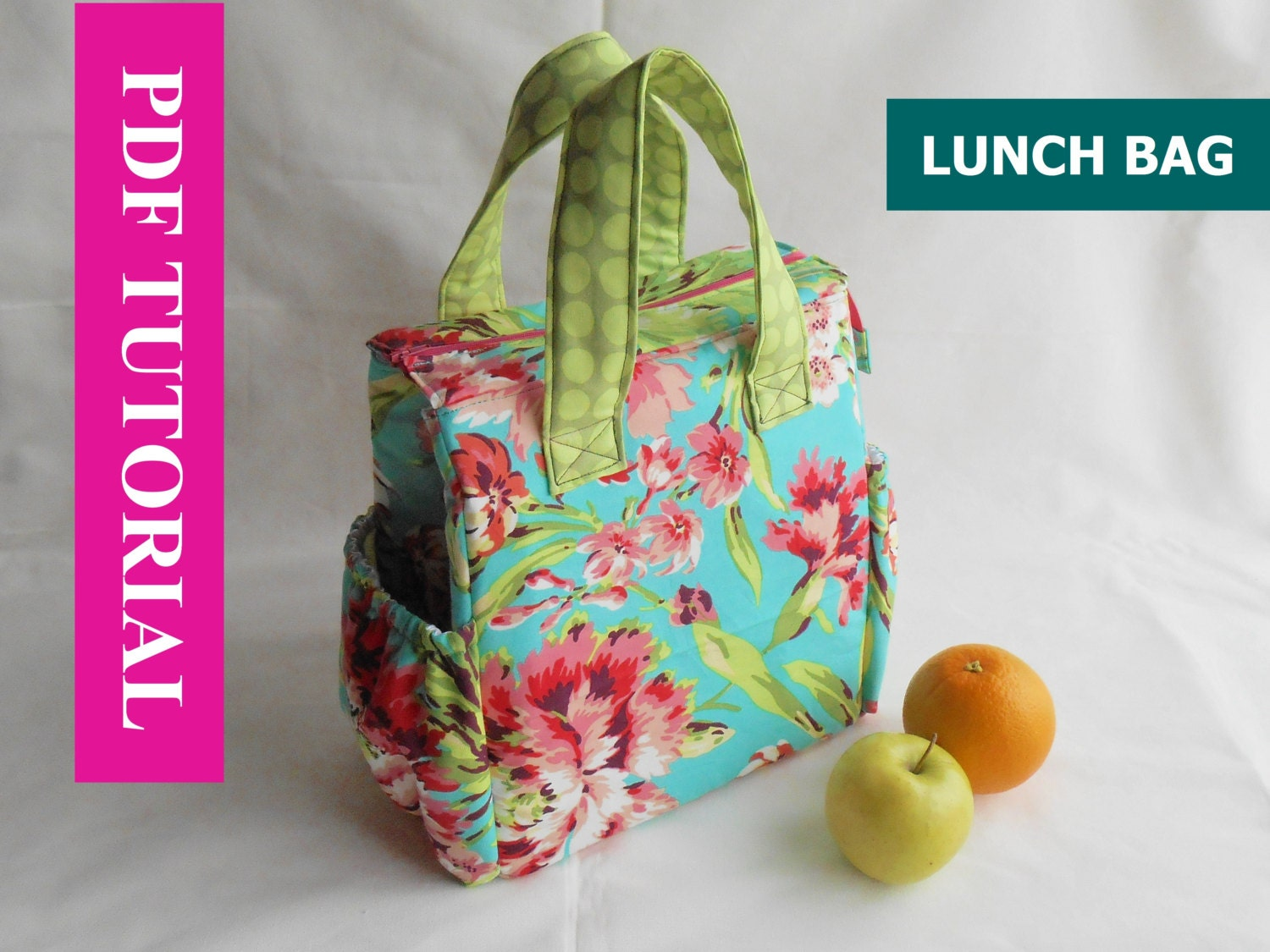 insulated lunch bag pdf sewing tutorial lunch bag by. Black Bedroom Furniture Sets. Home Design Ideas
