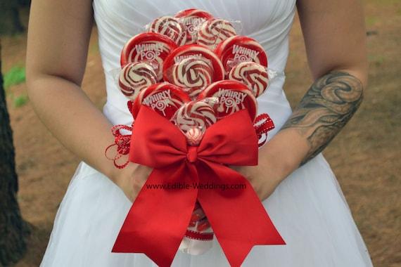 Red Lollipop Bouquet Red Lollipop Bridal Bouquet By