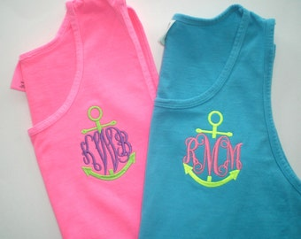 Monogram Tank Tops Custom Embroidery Comfort Colors Wedding Party Gifts Swim Suit Cover. Sorority Rush