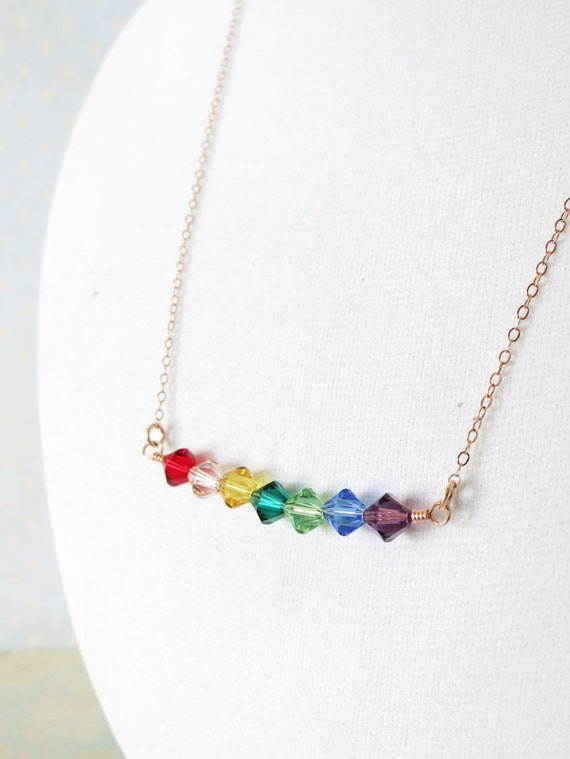 Simple Rainbow Beads on Rose Gold necklace - rose gold filled, Rainbow Color Swarovski Beads, Red, Orange, Yellow, Green, Blue, Purple