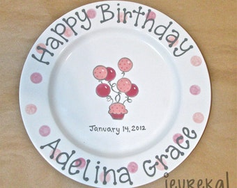 "Polka Dot Balloons & Cupcake Birthday Personalized Custom Plate - Large 10.5"" Ceramic Plate"