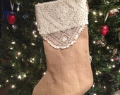 ON SALE! Burlap & Lace Christmas Stocking