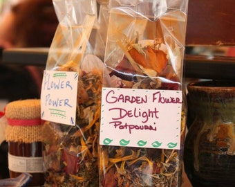 A blend of dried flowers, petals,leaves, stems, buds, herbs and other such lovelies from the harvest of my garden .