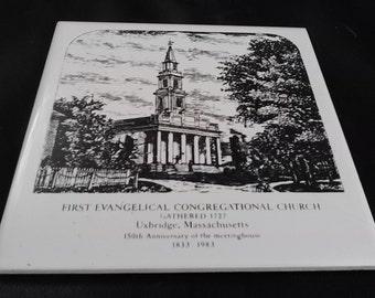 Vintage 1983 First Evangelical Church Uxbridge Mass 1883-1983 150 years Trivet