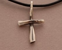 Rustic Cross Pendant Necklace for Men in Oxidized Sterling Silver, Unique Christian Gift, ST676ox.
