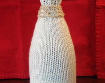 Lace Belted Bride Wine Cozy