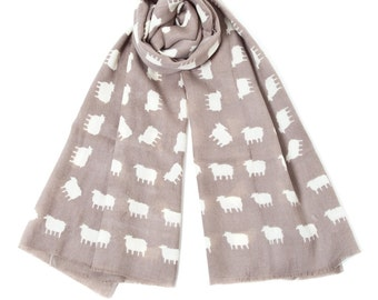Wool Sheep Scarf in Light Brown