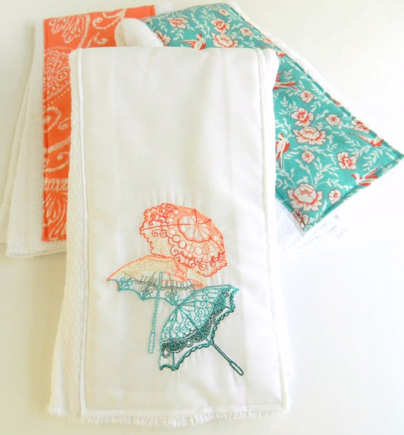 Ombre Parasol and Birdie Burp Clothes for Baby -- Great Gift for a Baby Shower