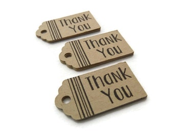 25 Thank You Tags - Mini Tags - Hang Tag - 1.25 x 0.7 inch - Kraft Tag - Wedding Favor Tag - Gift Tags - Jewelry Tag - Scalloped Tag TY11