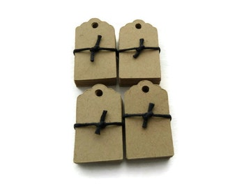 100 Count - Mini Tags - Hang Tags - 1.25 x 0.7 in. - Kraft Tag - Wedding Favor Tag - Product Tag - Scalloped Tag - Jewelry Tag - Blank Tag