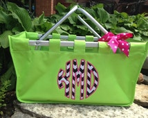 SALE! Market Tote Monogrammed Lime Green with Chevron Appliqué Circle Monogram Initials or Embroidered Name or Initials IN STOCK