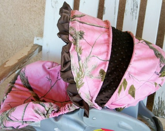 Realtree Snow Camo W Baby Pink Car Seat Cover By