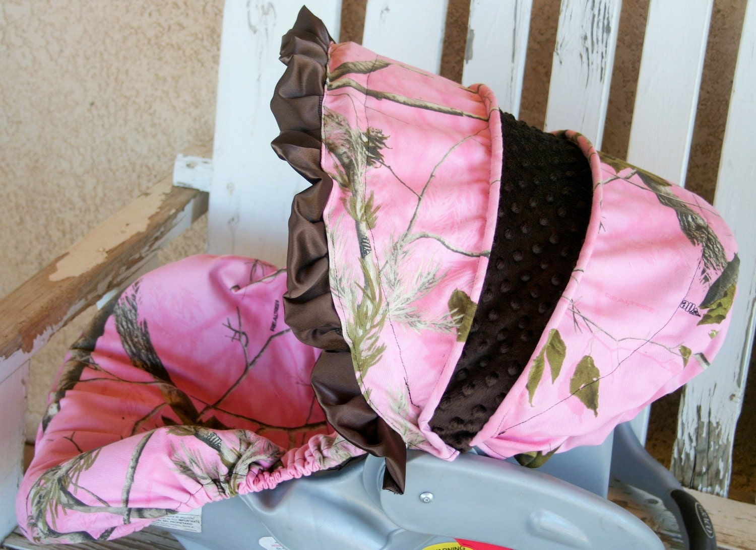 Pink Realtree Camo With Brown Minky Car Seat Cover And Hood