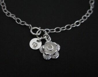 Flower Bracelet. Personalized Jewelry. Initial Bracelet. Sterling Silver. Flower Girl Bracelet. Silver Rose. Charm Bracelet. Wedding Gift.
