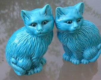 Pair of vintage 2 blue ceramic cat turquoise blue enamel  ceramic animal sculpture cat statue french ceramic
