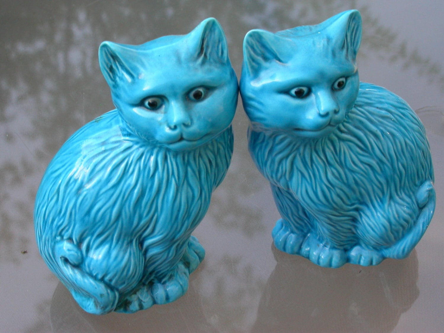 Pair Of Vintage 2 Blue Ceramic Cat Turquoise Blue Enamel
