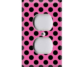 Black Polka-Dots on Pink Outlet Cover