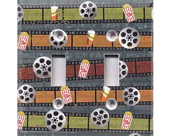Cinema and Popcorn Double Light Switch Cover