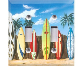 Surfboards Style 1 Double Light Switch Cover
