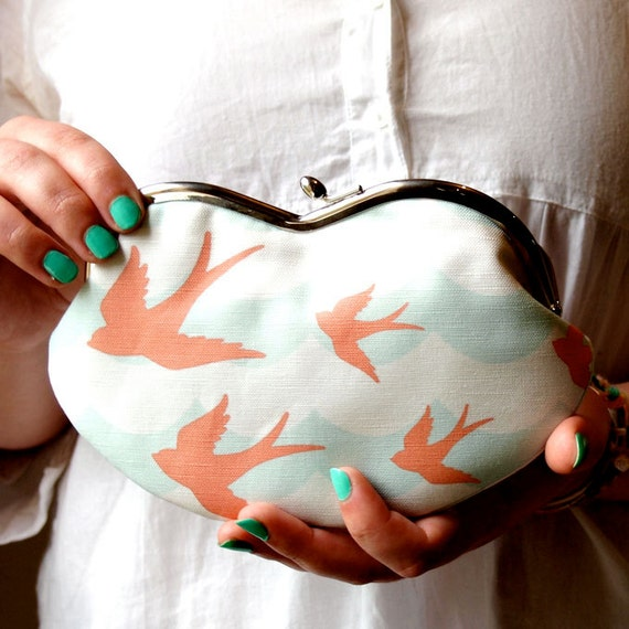 Eyeglasses case - Swallows on ocean flight/ coral and mint green canvas/ smartphone case/wallet/ purse