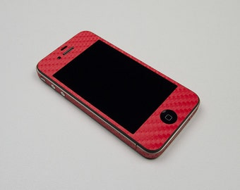 For Apple iPhone 4 4S Model A1332, A1349, A1387  2 set Red Carbon Fiber Protector Decal Skin Body Wrap 6pcs